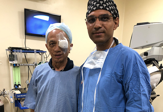 Happy patient after eye surgery